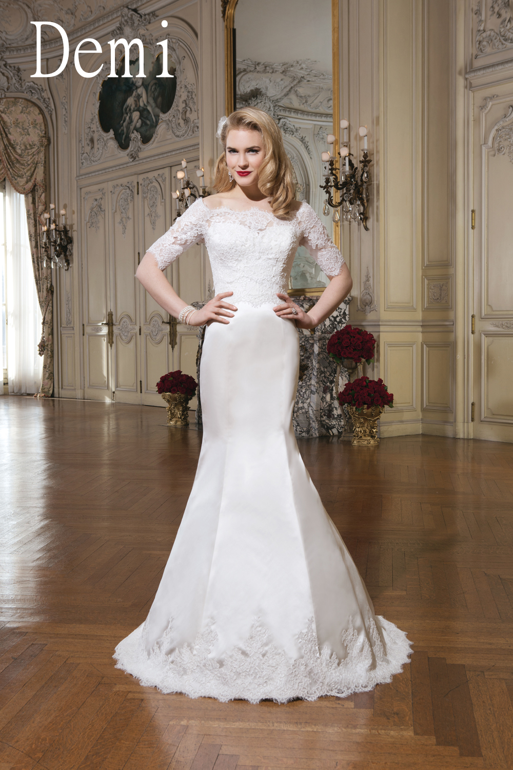 eef81a7936e3 Demi- The off- the shoulder, three-quarter lace sleeves offers a  sophisticated romantic look, while the regal satin gives a touch of chic.  The satin gown is ...