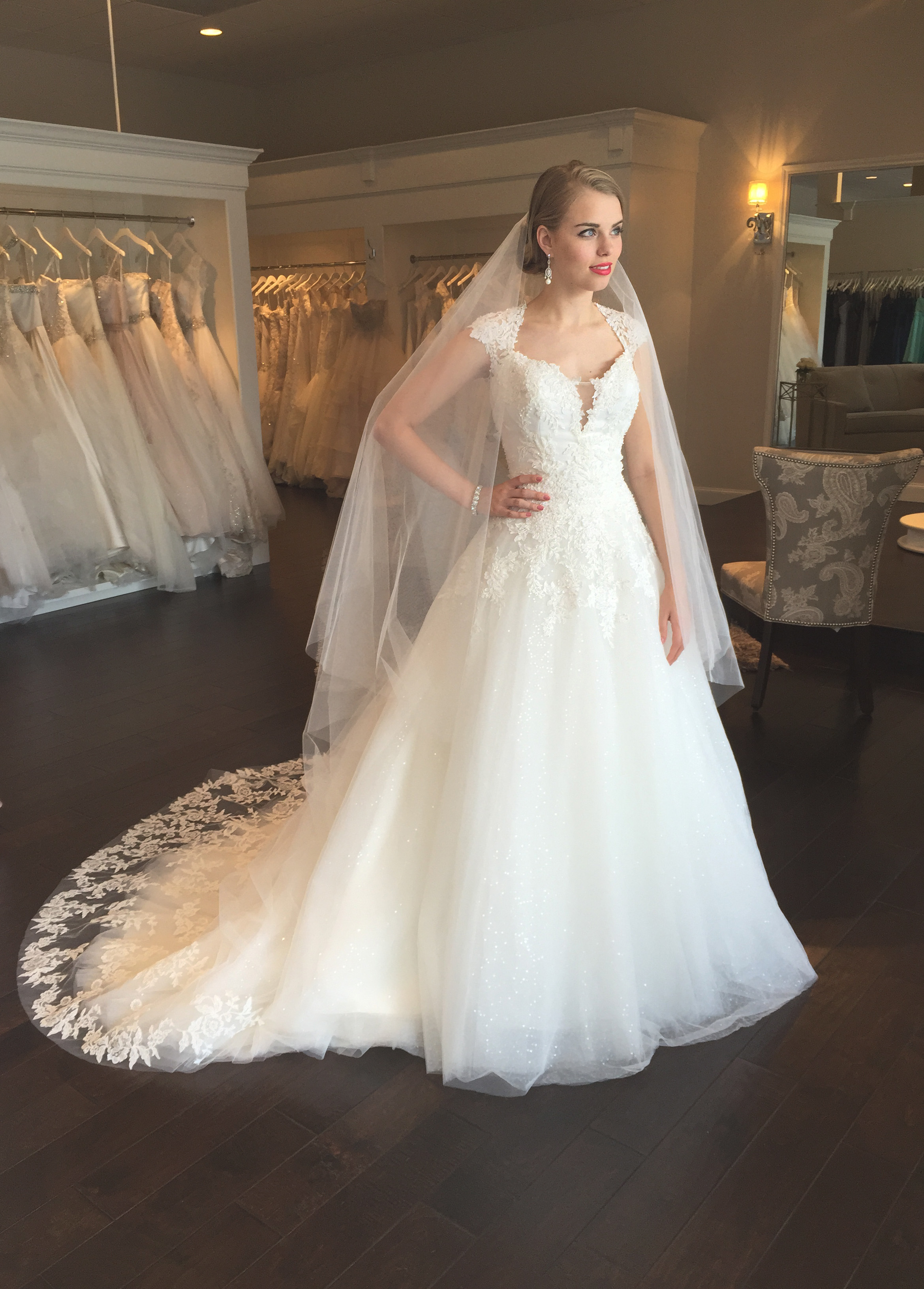 We Love The Beaded And Lace Bodice With Beautiful Cap Sleeves Skirt Has A Layer Of Sequins Underneath That Adds Whole New Level Glam To This Gown