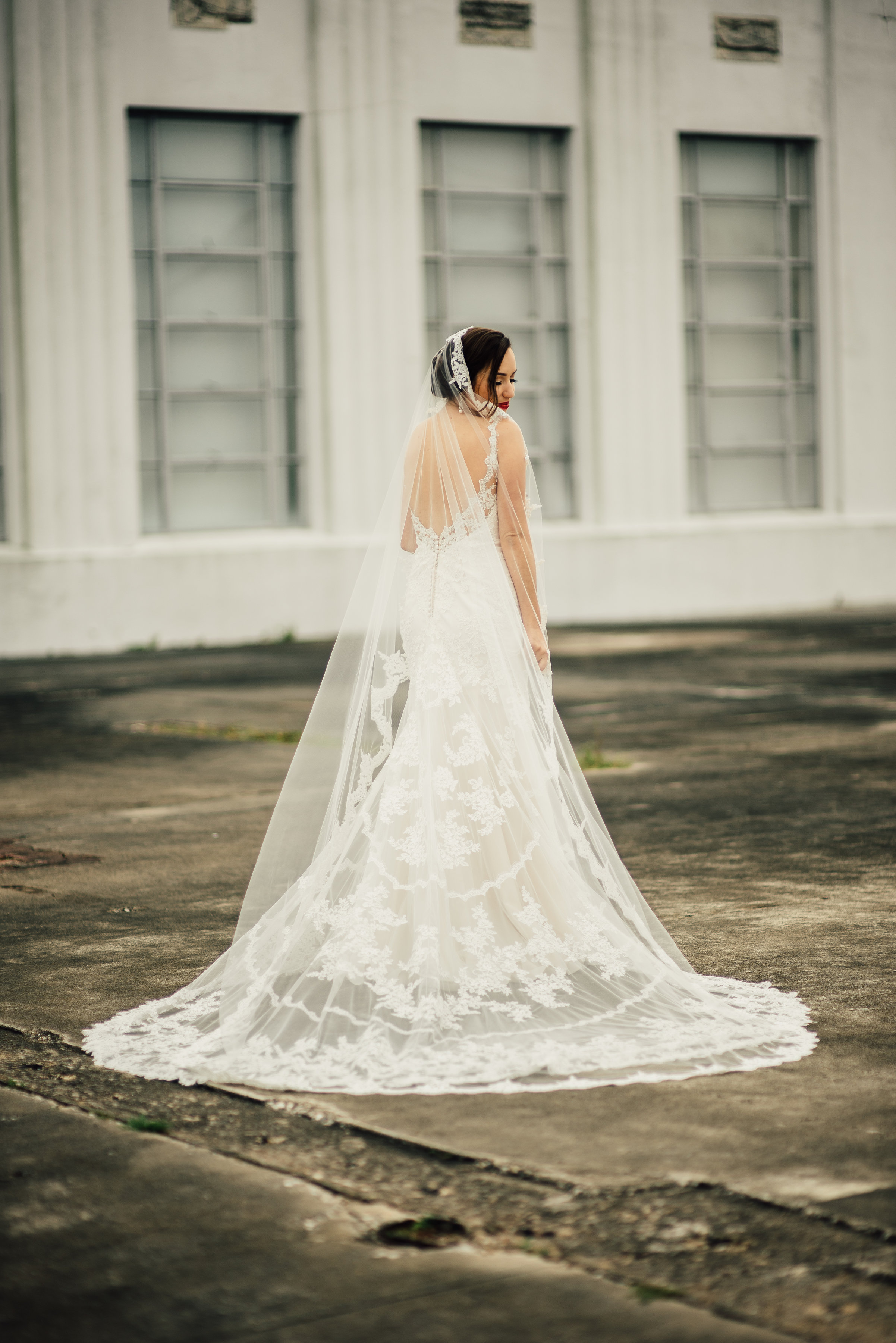 Low Back Wedding Dress With Veil : Lacey with a low back bridal houston tx